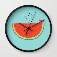 ilovedoodle Wall Clocks featuring Don't let the seed stop you from enjoying the watermelon by I Love Doodle