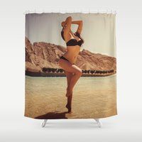 oasis Shower Curtains featuring Desert Oasis by MKGRAPHY