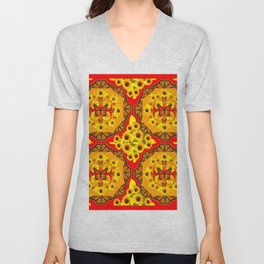 LACY RED-GOLD YELLOW SUNFLOWERS & MONARCH BUTTERFLIES Unisex V-Neck