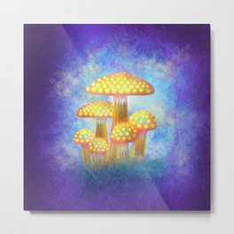 Yellow Bioluminescence Metal Print