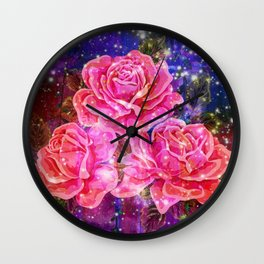 Roses with sparkles and purple infusion Wall Clock