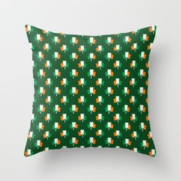 Irish Flag Green White Orange on Green St. Patrick's Day Ireland Throw Pillow
