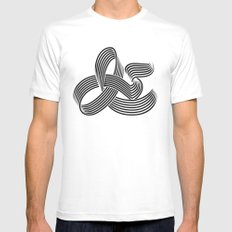 Eye bending Ampersand. White MEDIUM Mens Fitted Tee
