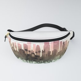 Los Angeles Skyline Watercolor Blush Taupe Green by Zouzounio Art Fanny Pack