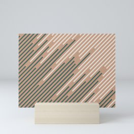Sand Storm Beige Dark Green Creamy Off White Lines 2021 Color of The Year Canyon Dusk Accent Shades Mini Art Print