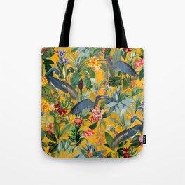 Vintage & Shabby Chic - Sunny Tropical Garden Blue Heron Tote Bag