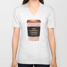 Life happens, coffee helps Unisex V-Neck