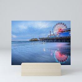 Santa Monica Pier Sunset Califorina Los Angeles Beach Landscape Mini Art Print