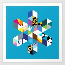 Collage Snowflake Art Print