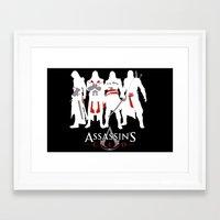 assassins creed Framed Art Prints featuring Assassins by Pixel Design