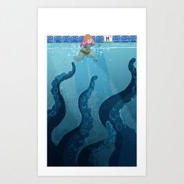 Childhood Fear: The Octopus in the Deep End Art Print