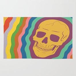 Trippy Rainbow Skull Rug