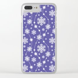 Purple Holiday Snowflake Pattern Clear iPhone Case