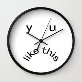 Y U LIKE THIS Frowny Face in Black Wall Clock