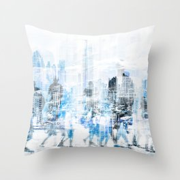 people in the city concept - abstract city skyline and people on street double exposure   Throw Pillow