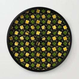 Irish Shamrock Four-leaf clover  Gold black Wall Clock