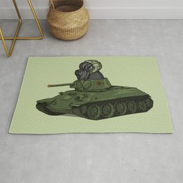 Scottish Terrier Dog Sitting in Toy Tank Rug