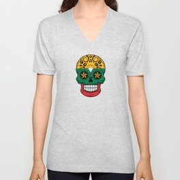Sugar Skull with Roses and Flag of Lithuania Unisex V-Neck