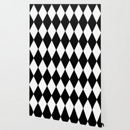 LARGE BLACK AND WHITE HARLEQUIN DIAMOND PATTERN Wallpaper