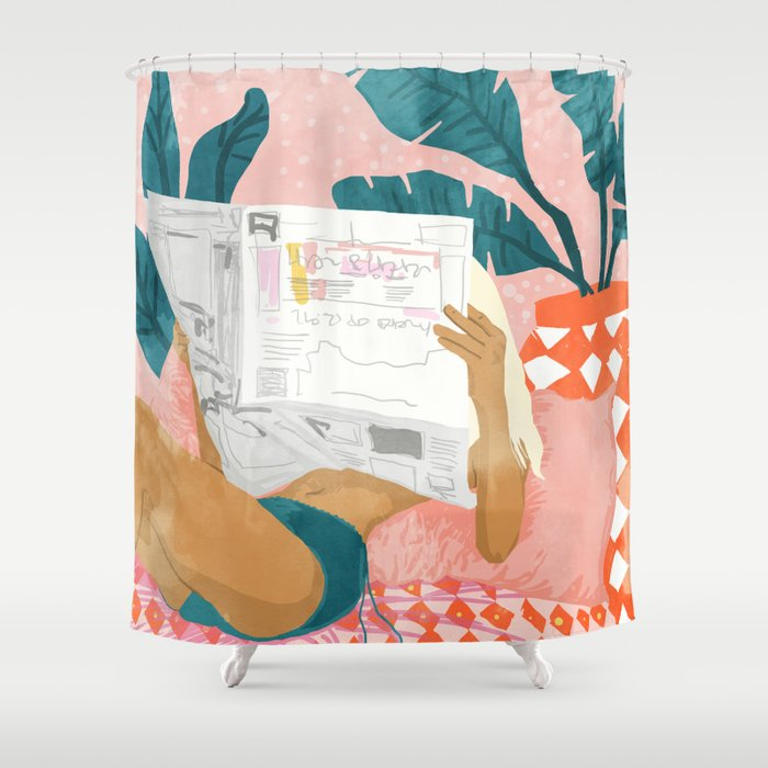 Morning News Shower Curtain