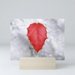 Valentine Heart, Red Sapling Leaf Against Snow Mini Art Print