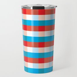 Tricolor Checkered Pattern Travel Mug