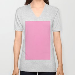 Pastel Magenta Color Solid Block Unisex V-Neck