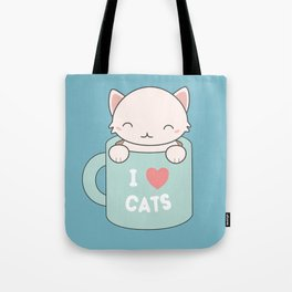 Kawaii Cute I Love Cats Tote Bag