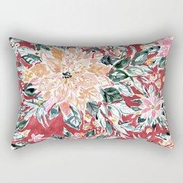 LUSH POINSETTIA Red Lush Holiday Floral Rectangular Pillow