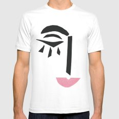 Modern Art Face White MEDIUM Mens Fitted Tee