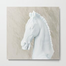 Ancient Sculpture Horse Decor Metal Print