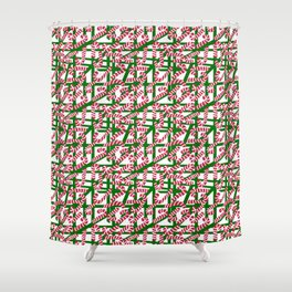 Squiggly Candy Canes for Christmas Shower Curtain