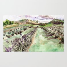 Purple up over the hills Rug