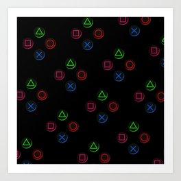 PS4 controller buttons neon aesthetics Art Print