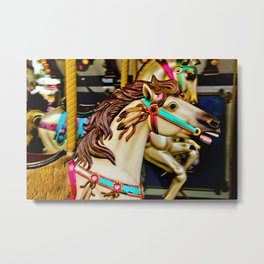 Carnival Carousel Horse with Feathers Metal Print
