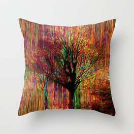 Abstract tree on a colorful background Throw Pillow