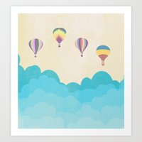 hot air balloons Art Prints featuring hot air balloons by studiomarshallarts
