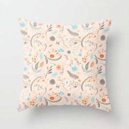 Floral Pattern with Flowers and Leaves Throw Pillow