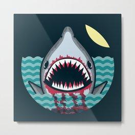 Dark night at the sea - wild shark appear Metal Print
