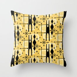 Retro Atomic Mid Century Pattern 771 Yellow Throw Pillow