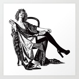 Retro Woman Wearing Vintage Lingerie and Drinking from Flask Art Print