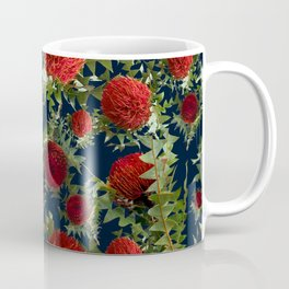 Australian Native Floral Pattern - Red Banksia Flowers Coffee Mug