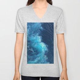Ocean Blue Waves Unisex V-Neck