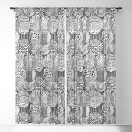 Black and White Abstract Line Art Plant Pattern Sheer Curtain