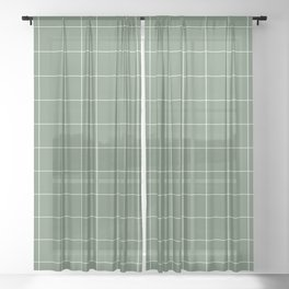 Windowpane Check Grid (white/sage green) Sheer Curtain