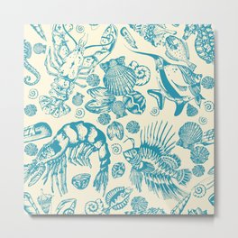 Ocean Sea Critters on White Background Metal Print