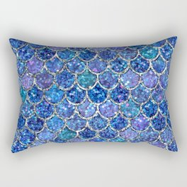 Sparkly Shades of Blue & Silver Glitter Mermaid Scales Rectangular Pillow