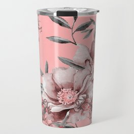 Peach Red and Gray Floral Travel Mug