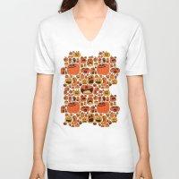 pumpkin V-neck T-shirts featuring Pumpkin Pattern by Chris Piascik