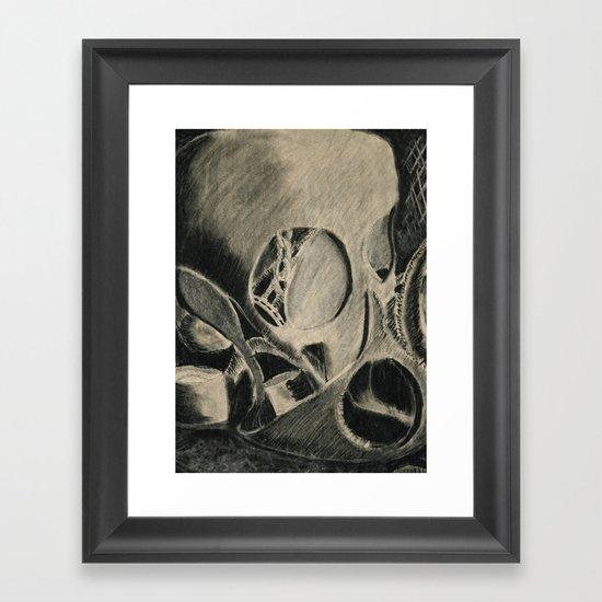 Skull in Scrapyard Framed Art Print